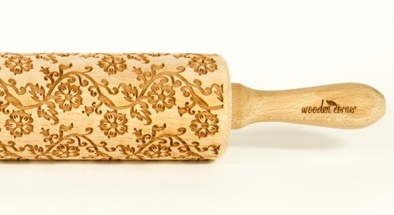 English tea flowers pattern, VINTAGE Rolling Pin, Engraved Rolling Pin, Embossed Pin Rolling, Wooden Rolling pin