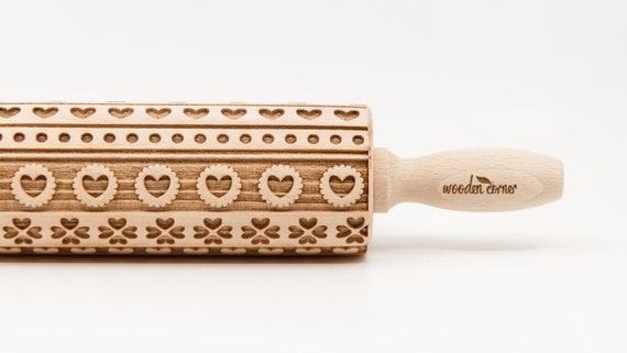 No. R153, PATTERN OF HEARTS 1 -  Rolling Pin, Engraved Rolling Pin, Rolling Pin, Embossed Cookies, Wooden rolling pin, nudelholz