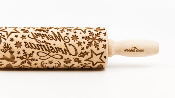 MERRY CHRISTMAS - Rolling Pin, Embossed rolling pin, Wooden roller engraved, Embossing Cookies, Wooden Toys,Stamp, Baking Gift,