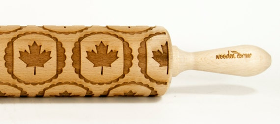 Canada Flag cookies Embossing rolling pin, Engraved Rolling Pin, Embossed Rolling Pin, Wooden Rolling pin