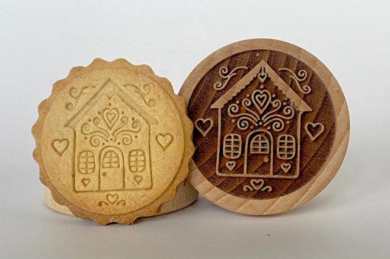 No. 060 Wooden stamp deeply engraved Gingerbread house, Merry Christmas, Christmas gift, Wooden Toys, Stamp, Baking Gift, Christmas tree