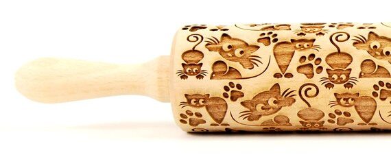 CATS No. 6 Embossing rolling pin Engraved rolling pin Funny cats