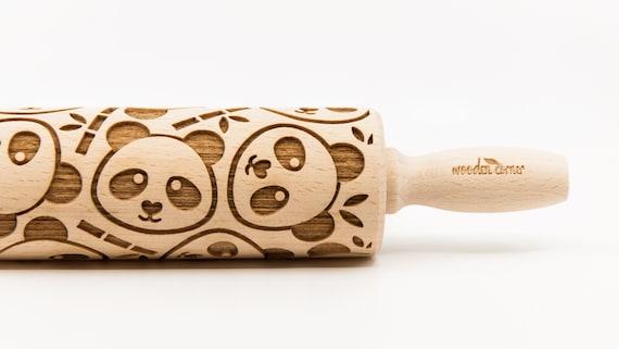 PANDAS pattern, Rolling Pin, Engraved Rolling, Rolling Pin, Embossed rolling pin, Wooden Rolling pin