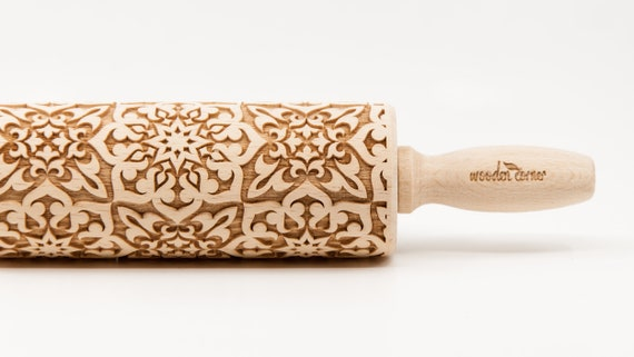 ALHAMBRA 7 Rolling Pin, Engraved Rolling, Rolling Pin, Embossed rolling pin, Wooden Rolling pin, Kids' toys