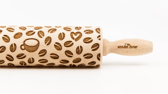COFFE TIME - Rolling Pin, Engraved Rolling Pin, Rolling Pin, Embossed Cookies, Wooden Rolling pin