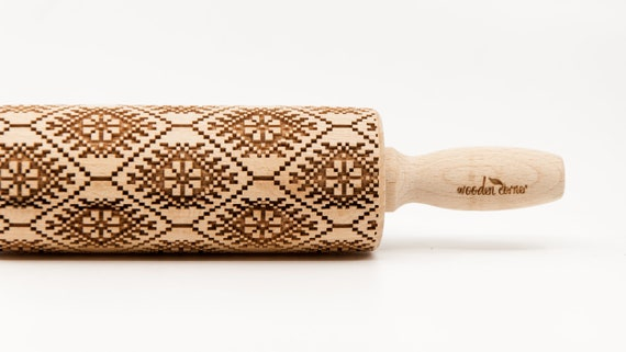 NORWEGIAN PATTERN 2 -  Rolling Pin Engraved Rolling Pin Gift Rolling Pin Rolling PiN for Embossed Cookies Wooden Rolling pin
