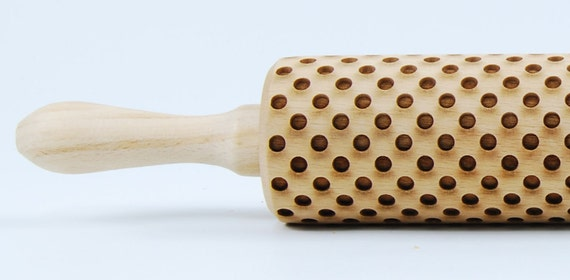 Dots -  - laser engraved rolling pin, embossing rolling pin