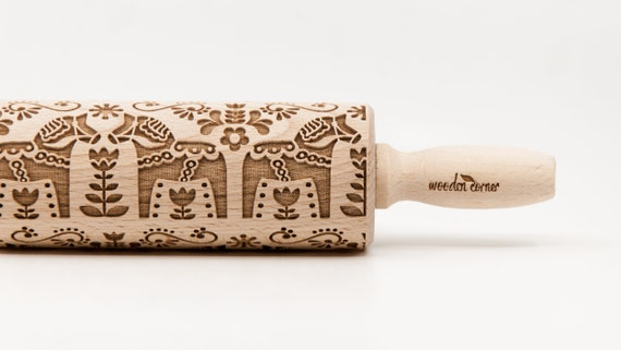 SCANDINAVIAN DALA HORSE 1 pattern - Rolling Pin, Embossed rolling pin, Wooden roller engraved, Embossing Cookies, Wooden Toys,Stamp