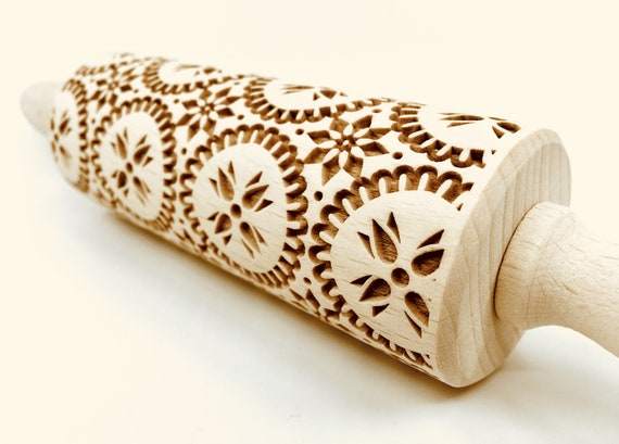 Carpathian 3 - Rolling Pin, Embossed rolling pin, Wooden roller engraved, Embossing Cookies, Wooden Toys,Stamp, Baking Gift, Birthday
