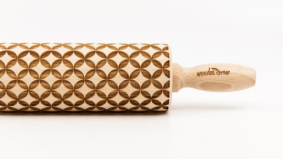 GEOMETRIC 9 pattern, Rolling Pin, Engraved Rolling, Rolling Pin, Embossed rolling pin, Wooden Rolling pin