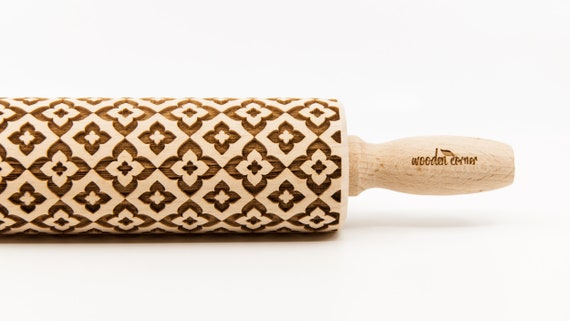 GEOMETRIC 7 pattern, Rolling Pin, Engraved Rolling, Rolling Pin, Embossed rolling pin, Wooden Rolling pin
