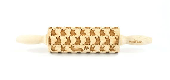 Welsh Corgi Pembroke - MINI Embossing Rolling pin , engraved rolling pin, Embossed Cookies, Wooden rolling pin, nudelholz