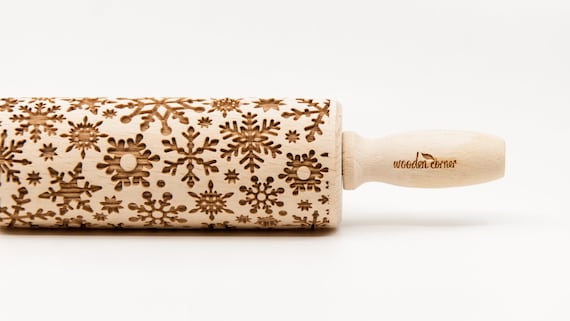 SNOWFLAKES 2 pattern, Rolling Pin, Engraved Rolling, Rolling Pin, Embossed rolling pin, Wooden Rolling pin