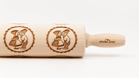 DUTCH PATTERN Holland Embossing rolling pin, Engraved Rolling Pin, Embossed Rolling Pin, Wooden Rolling pin
