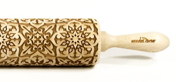 Alhambra 7, BIG Rolling Pin, Engraved Rolling, Rolling Pin, Embossed rolling pin, Wooden Rolling pin