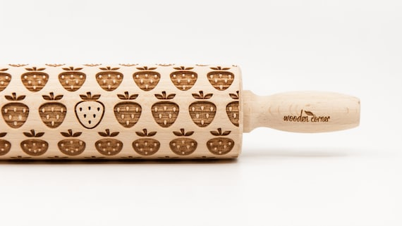 STRAWBERRY pattern, Rolling Pin, Engraved Rolling Pin, Embossing rolling pin, Wooden Rolling pin