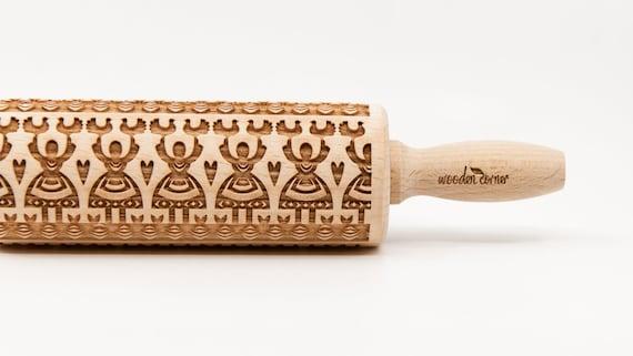 LELUJA 2  Polish folk pattern, Rolling Pin, Engraved Rolling, Rolling Pin, Embossed rolling pin, Wooden Rolling pin