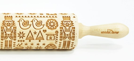 The Nutcracker - Big size Rolling Pin, Engraved Rolling Pin, Rolling Pin, Embossed Cookies, Wooden rolling pin