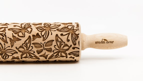 BUTTERFLY  pattern, Rolling Pin, Engraved Rolling, Rolling Pin, Embossed rolling pin, Wooden Rolling pin