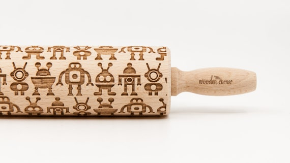 ROBOTS pattern, Rolling Pin, Engraved Rolling, Rolling Pin, Embossed rolling pin, Wooden Rolling pin