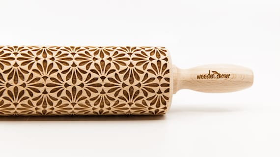 little FLOWERS pattern, Rolling Pin, Engraved Rolling, Rolling Pin, Embossed rolling pin, Wooden Rolling pin