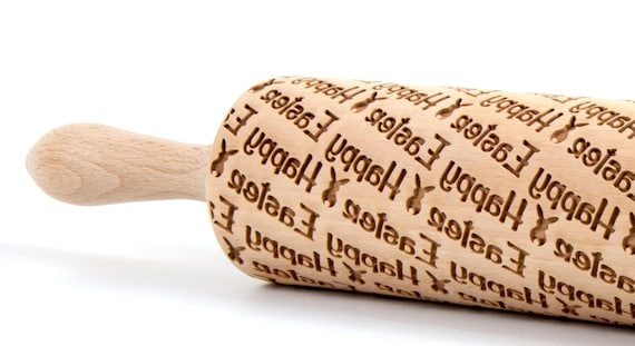 Happy Easter 6 - Embossing Rolling pin, engraved rolling pin