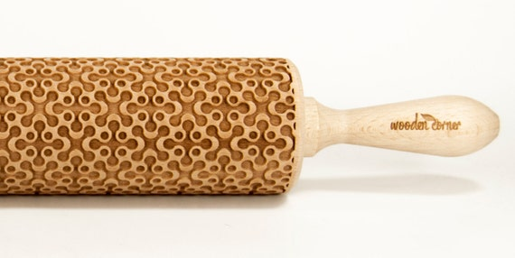 Geometric 4 Embossing rolling pin, Engraved Rolling Pin, Embossed Rolling Pin, Wooden Rolling pin