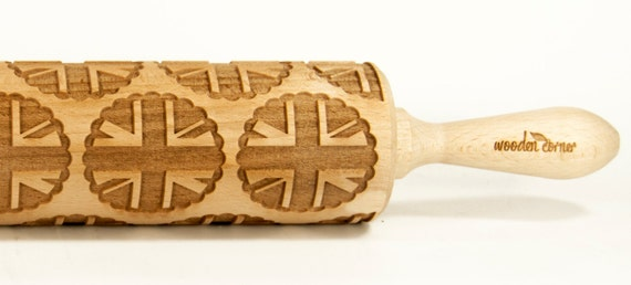 United Kingdom of Great Britain UK cookies  Embossing rolling pin, Engraved Rolling Pin, Embossed Rolling Pin, Wooden Rolling pin