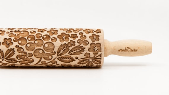 BERRIES, FOREST FRUITS pattern, Rolling Pin, Engraved Rolling, Rolling Pin, Embossed rolling pin, Wooden Rolling pin