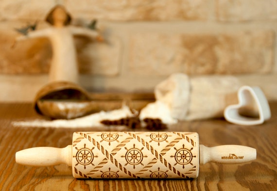 Sailor MIDI Marine Rolling Pin, Sea, Engraved Rolling Pin, Gift Rolling Pin, Embossed Rolling Pin, Wooden Rolling pin