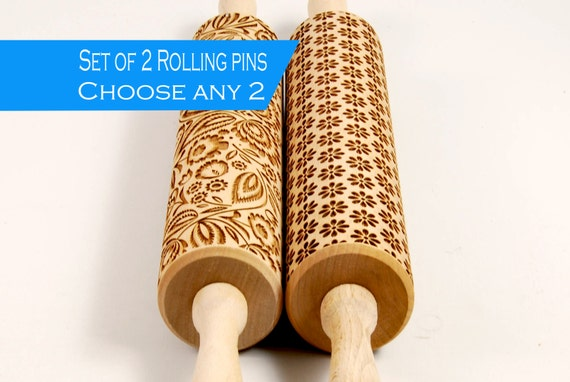 Choose any 2 patterns from my store - Set of two big embossed rolling pin