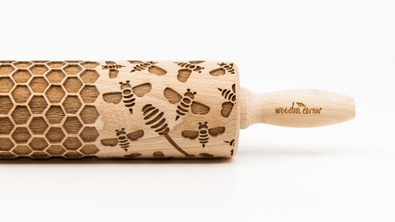 BEE & HONEY pattern, Rolling Pin, Engraved Rolling, Rolling Pin, Embossed rolling pin, Wooden Rolling pin