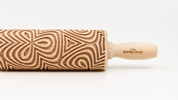 OP ART FLOWERS pattern, Rolling Pin, Engraved Rolling, Rolling Pin, Embossed rolling pin, Wooden Rolling pin