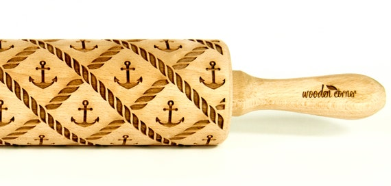 Marine sailor II Rolling Pin, Sea, Engraved Rolling Pin, Gift Rolling Pin, Embossed Rolling Pin, Wooden Rolling pin