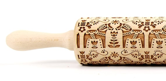 Scandinavian PATTERN Dala horse I - Rolling Pin, Embossed rolling pin, Wooden roller engraved, Embossing Cookies, Wooden Toys,Stamp