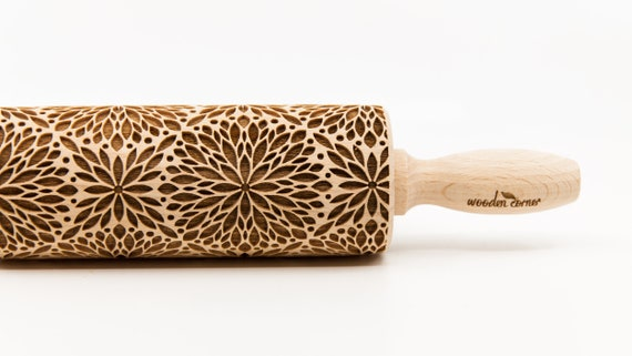 FLORAL ROSETTE pattern, Rolling Pin, Engraved Rolling, Rolling Pin, Embossed rolling pin, Wooden Rolling pin