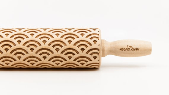 JAPANESE WAVES pattern, Rolling Pin, Engraved Rolling, Rolling Pin, Embossed rolling pin, Wooden Rolling pin