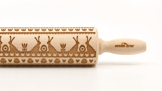 HAPPY EASTER 5 - Embossing Rolling pin, engraved rolling pin (no. 322)