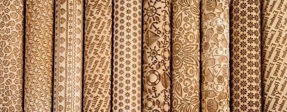 CHOOSE ANY 4 of all our patterns - Embossing rolling pin, laser engraved rolling pin, Set of four Embossed rolling pin