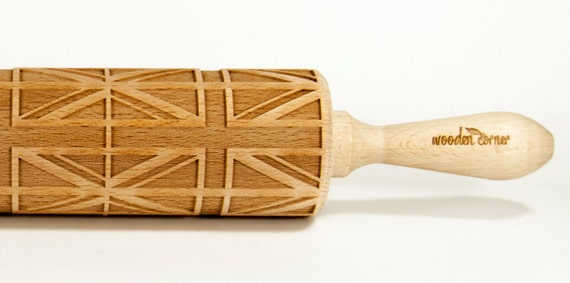 United Kingdom of Great Britain UK Embossing rolling pin, Engraved Rolling Pin, Embossed Rolling Pin, Wooden Rolling pin