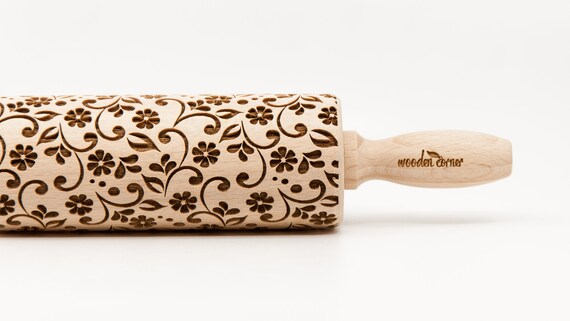 DELICATE FLORAL PATTERN, embossing rolling pin, engraved rolling pin
