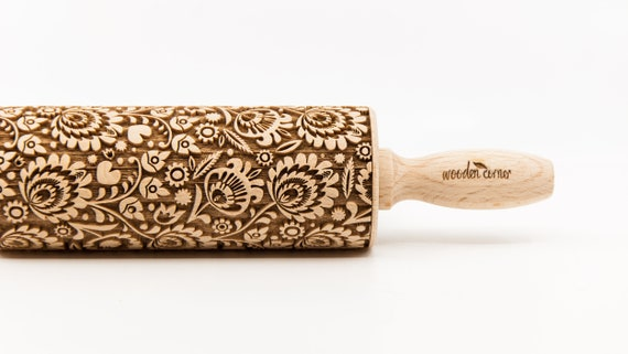 "POLISH FOLK FLOWERS 2 ""Negative"" version Rolling Pin, Engraved Rolling, Rolling Pin, Embossed rolling pin, Wooden Rolling pin"