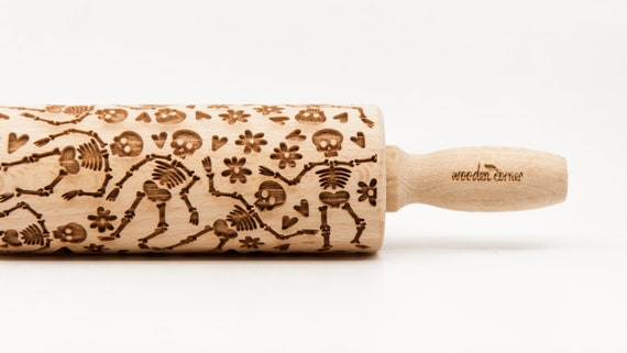 SKELETON HALLOWEEN pattern, Rolling Pin, Engraved Rolling, Rolling Pin, Embossed rolling pin, Wooden Rolling pin