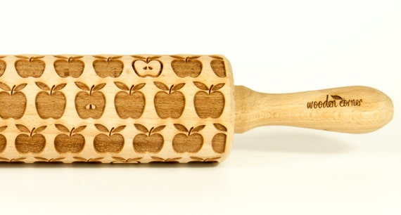 Apple pie Engraved Rolling Pin, Embossed Rolling Pin, Wooden Rolling pin