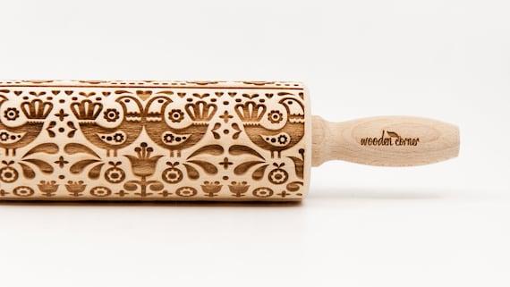 FOLK HENS  pattern, Rolling Pin, Engraved Rolling, Rolling Pin, Embossed rolling pin, Wooden Rolling pin