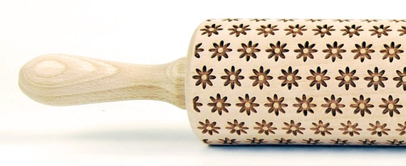 Spring Flower embossing rolling pin, laser engraved rolling pin