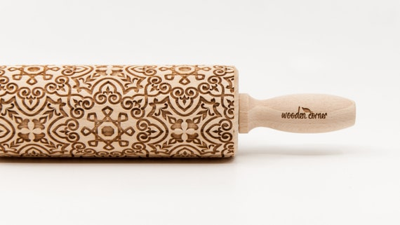 ALHAMBRA 9 - Rolling Pin, Engraved Rolling, Rolling Pin, Embossed rolling pin, Wooden Rolling pin