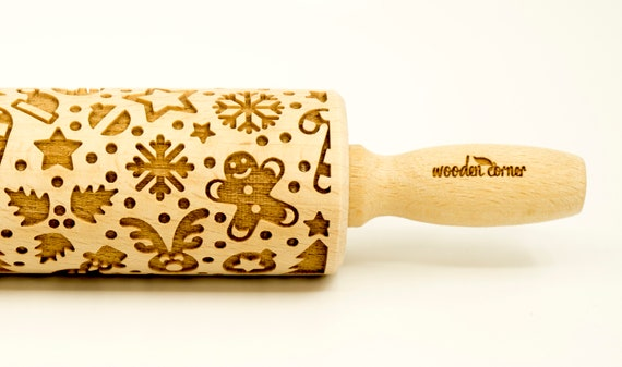 CHRISTMAS MIX  - Rolling Pin, Embossed rolling pin, Wooden roller engraved, Embossing Cookies, Wooden Toys,Stamp, Baking Gift