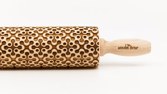 GEOMETRIC 4 - Embossing rolling pin, Engraved Rolling Pin, Embossed Rolling Pin, Wooden Rolling pin