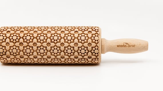 ALHAMBRA 5 ANDALUSIA, Rolling Pin, Engraved Rolling, Embossed rolling pin, Wooden Rolling pin